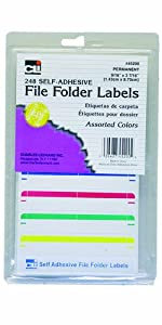 Charles Leonard Inc. File Folder Labels, 0.56 x 3.43 Inches, Assorted, 248/box (45200)