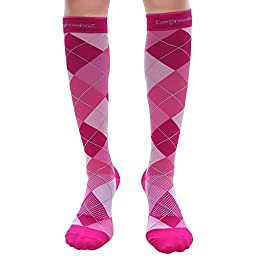 Compression Socks (1 Pair - Argyle Pink M) 20-30mmHg Graduated - Best For Running, Athletic Sports, Crossfit, Flight Travel (Men & Women) - Suits Nurses, Maternity Pregnancy, Shin Splints