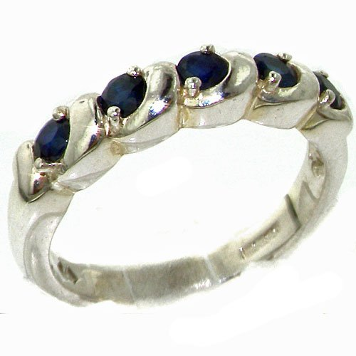 Luxury Solid Sterling Silver Deep Blue Natural Sapphire Eternity Ring - Size 11.25 - Finger Sizes 4 to 12 Available - Suitable as an Anniversary ring, Engagement ring, Eternity Ring, or Promise ring