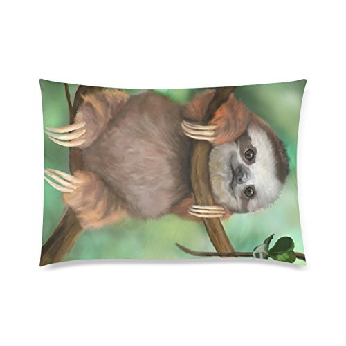 Leaveland Sloth Holding The Branches Pillow Case Square Pillow Cover 12 x 20 Inches Cushion Cover