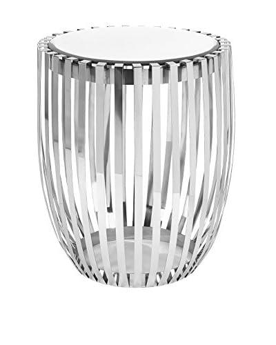 Xanthia Steel & Mirror Accent Table