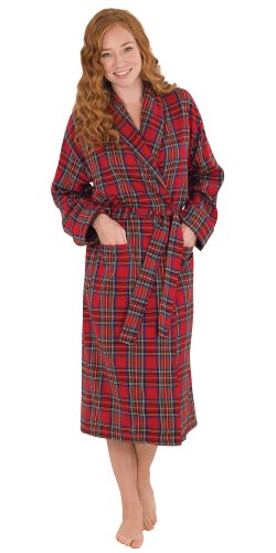 PajamaGram Cotton Flannel Stewart Plaid Red Robe for Women, Extra Large (16), XL/1X (16-18), Red (Extra Long Nightshirts compare prices)
