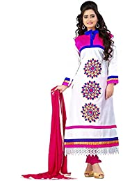 Yehii Semi Stitched Salwar Suit For Women Free Size Party Wear Dress Material White | Cotton , Cotton , Chiffon...