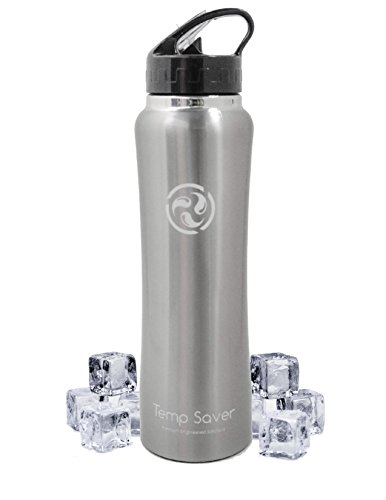 TEMP SAVER Best Stainless Steel Vacuum Insulated Water Bottle, NEW larger 34 Oz Capacity, Wide Mouth, Double Wall Design, with Straw Cap Included! The most user friendly bottle on the market!!