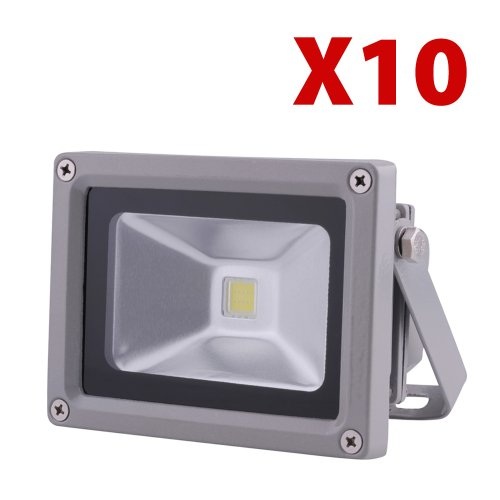 10 Pcs 10 Watt Led Waterpoof Outdoor Security Floodlight 85-265 Volt Ac,Cool White.