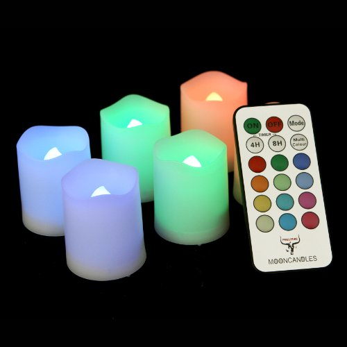 Frostfire Mooncandles - 6 Indoor And Outdoor Color Changing Votive Candles With Remote Control & Timer (Batteries Included)
