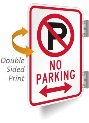 "No Parking (With Bidirectional Arrow & No Parking Symbol) Aluminum, 2-Sided Sign, 18"" X 12"" front-97318"