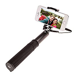 DEAL OF THE DAY!!! Plug and Play Aluminum Alloy Selfie Stick for iPhone, Android, and GoPro | 9 to 38 Inch Adjustable Length Monopod