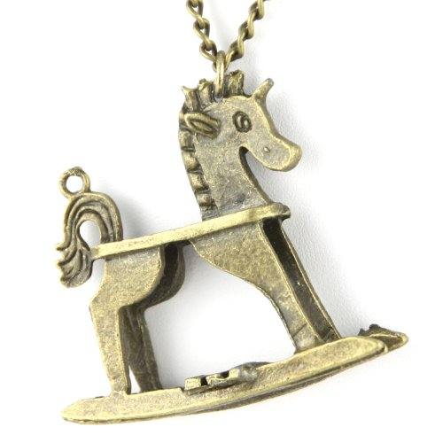 Rocking Horse Pendant - Long Chain Link - Brass Necklace
