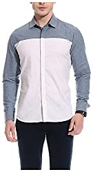 Bolt Men's Casual Shirt (bolt007, Blue & White, M)