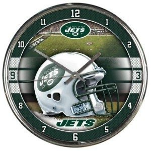 New York Jets Round Chrome Wall Clock by Hall of Fame Memorabilia