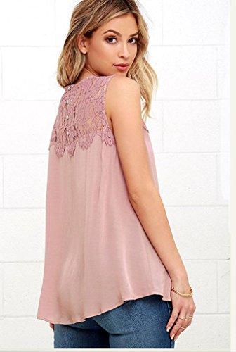 deman Spitze Chiffon Top - Hipzop deman Chiffon Spitze Sleeveless Hemd-Bluse-lässige Behälter (XL, Pink)