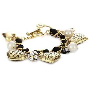 """Betsey Johnson """"Lovely Leopard"""" Heart Ribbon Toggle Bracelet"""