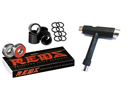 Bones Bearings Reds Bearings (8 Pack w/ Spacers & Washers & T-Tool) (Super Bones Reds compare prices)