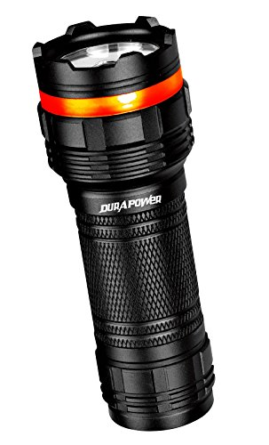 Durapower® Heavy Duty 600 Lumen Cree LED Flashlight Torch Hunting/Emergency/Safety/Security/Military/Camping Adjustable Focus Zoomable 3 Brightness Levels Plus Strobe SOS Black