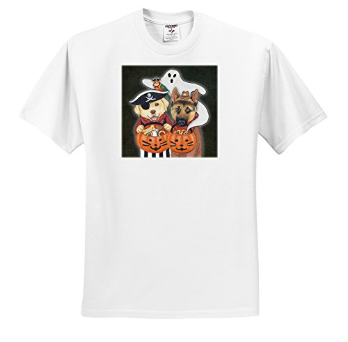 ts_221197 Laura J. Holman Art - Halloween Dogs - Labrador, Shepherd, and parrot in costume with a ghost. - T-Shirts