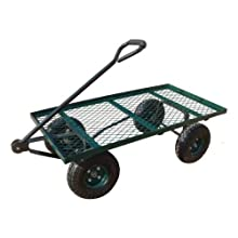 Sandusky Lee FW6036 Green Heavy Duty Steel Flat Wagon, 800 lbs Capacity, 60&#034; Length x 36&#034; Width x 17&#034; Height