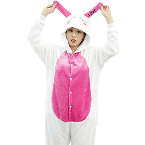 Aisha Unisex Adult Christmas Costume Onesie Pajamas Xmas Bunny Rabbit Cosplay L (Bunny Onesies For Adults)