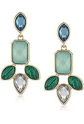 "Anne Klein ""Shades of Green"" Gold-Tone Multi-Drama Drop Earrings"