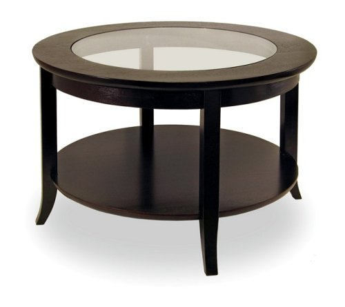 Winsome 92230 Round Coffee Table with Glass Top - Espresso