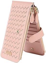 Borgasets Women\'s Leather Zipper Wallet Card Case Purse Hand Woven Pink