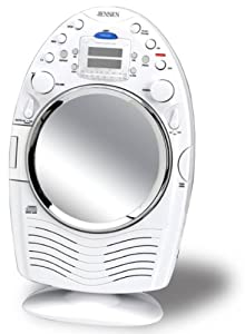 Jensen JCR-540 AM/FM Stereo Shower Radio and CD Player with Fog Resistant Mirror (White)