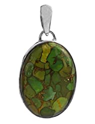 Exotic India Green Mohave Turquoise Pendant - Sterling Silver - B00MDMMWZO
