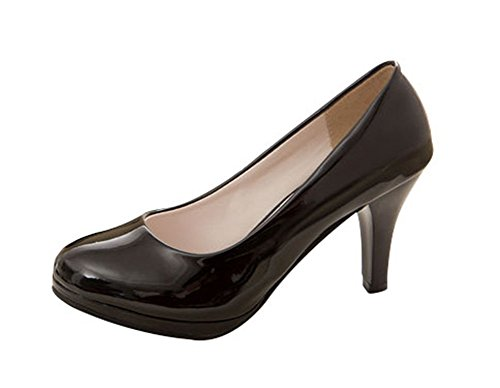 T&Grade Women Fashion PU Low Top Closed Toe Rubber Sole Formal Dress High Heel Pumps
