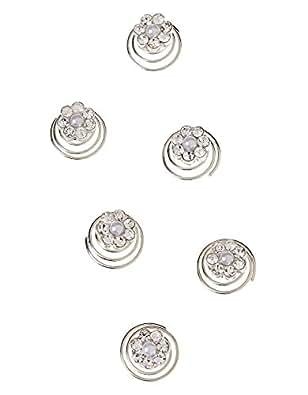 Monsoon Filles Lot de 6bijoux pour cheveux motif fleurs à strass Taille Taille unique Argent