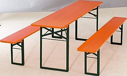 Mendler Mobiliario de jardín 1A cervecería Calidad 50mesa breite50cm Color: Naranja Longitud de colores 220cm