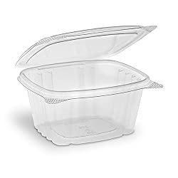 Riverbend Industrial - Food Grade Safe - Disposable Plastic Deli Storage Container with Hinged Lid, 16 oz, 100 pack