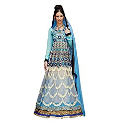 Admyrin Woman's Net Embroidered Sky Blue Facy Suit