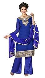 DKS Designers Women's Chanderi Unstitched Dress Material (NIK30010_Blue_Free Size)
