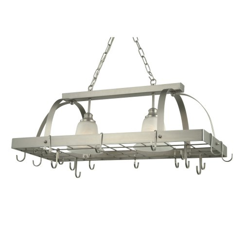 Image of Royce Lighting RKA600/2-12 Home Accents Brushed Steel Lighted Pot Rack (RKA600/2-12)