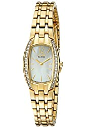 Citizen Women's EW9962-50D Eco-Drive Silhouette Swarovski Crystal-Accented Gold-Tone Stainless Steel Watch
