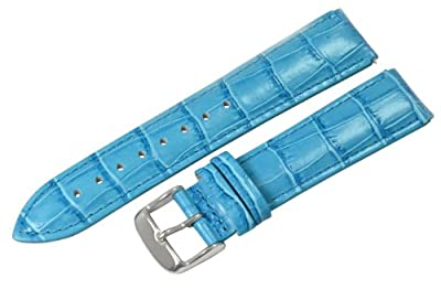 Clockwork Synergy® - 20mm x 18mm - Sky Blue Croco Grain Leather Watch Band fits Philip stein Large