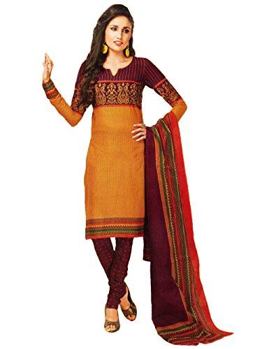 Vaamsi Womens Polyester Cotton Mix  A-Line Salwar Suit Dress Material (Deep1016 _Mustard _Free Size)