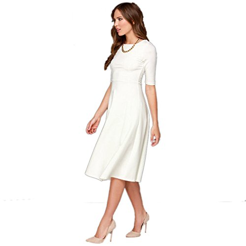 Dantiya Women's Half Sleeve Elegant Back Zipper A-Line Knee Long Dress, Small, White