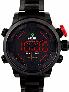 Alienwork DualTime Analogue-Digital Watch XXL Oversized LED Multi-function Stainless Steel black black OS.WH-2309-B-5