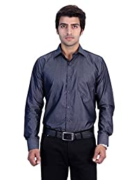 25th R Solid Plain Cotton Blend Slim Fit Formal Party Wear Shirts For Men