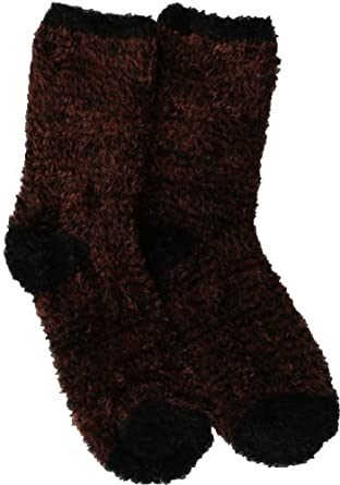 Soft and Warm Microfiber Fuzzy Socks in Brown/Black by Foot Traffic (Women's Shoe Size 4-10)