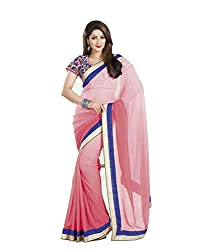 Ambica Women Faux Georgette Plain Saree(Amb-05_Pink_Freesize)