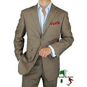 Amazon: Bianco Brioni Italian Linen Mens Suit Modern 2010 Two Button 2pc Flat Front Pants Ticket Pocket Hand Tailored Suit Taupe Khaki