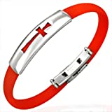 New Red Rubber Bracelet with Stainless Steel Cross Design, Length 22cms.