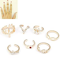 Cinderella Collection By Shining Diva Gold Metal Set Of 7 Mid Finger Cz Rings For Girls