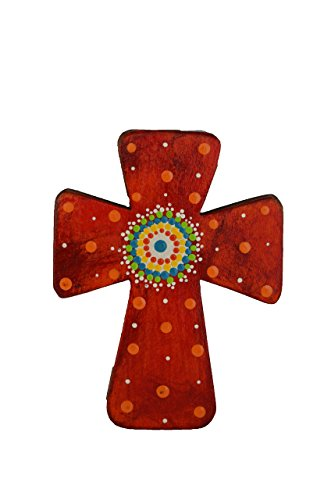 Costa Rican hand painted wall cross (Small - Red)