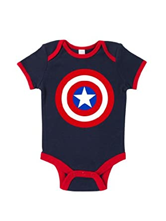 Amazon Blue Ivory Captain America Logo Baby Grow Art