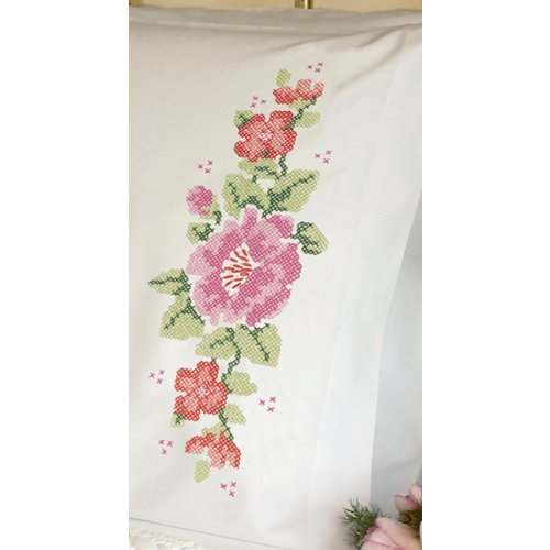 Dimensions Needlecrafts Stamped Cross Stitch, Pink Rose Pillow Cases front-661352
