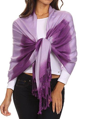 Sakkas CHS156 - Vicki Trendy Ombre Stripe Tie Dye Pashmina/ Shawl/ Wrap/ Stole - Purple - OS (Purple Tie Dye Scarves compare prices)