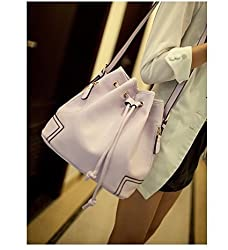 Di Grazia Italian PU Leather Bucket Bag; Women's Cord Strap Shoulder Sling Handbag - Lavender